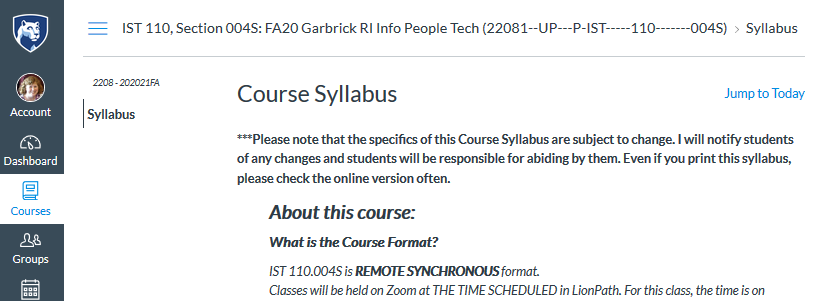 screen shot of Canvas syllabus visible to students not in your class