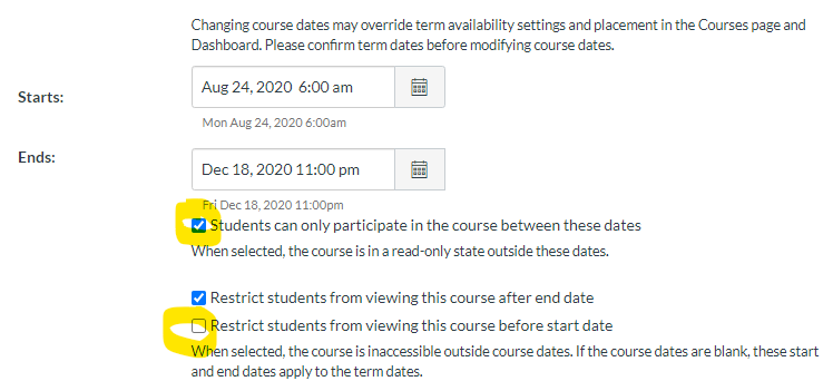 screen shot of Canvas settings then course details then starts and enter dates