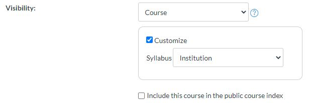 screen shot of Canvas course settings for Visibility